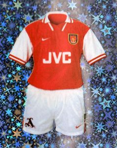 12171a0d4b2 Card showing Arsenal kit from 1997